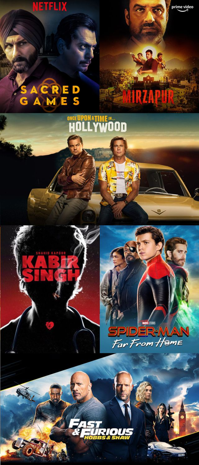 Stream Mirzapur, Sacred Games, Kabir Singh, Once Upon a Time in Hollywood, Hobbs & Shaw, Spider-man Far from Home and more